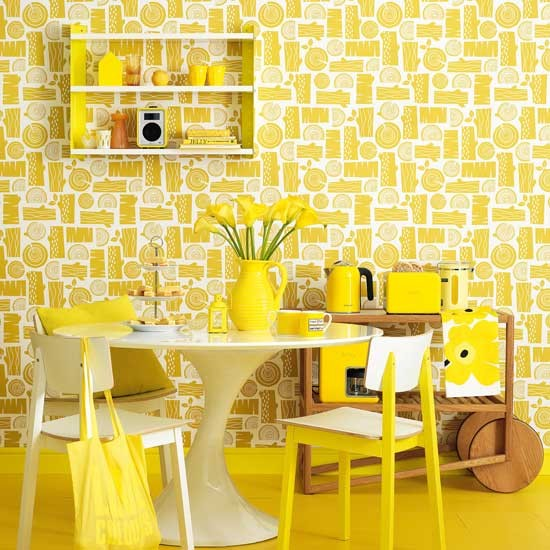 Retro yellow dining room colourful decorating ideas for Retro dining room ideas