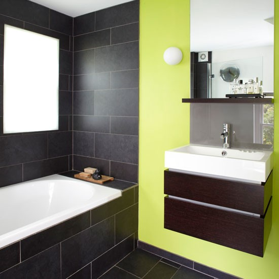 Fresh modern bathroom with green statement wall | colourful bathroom ideas | bathroom ideas | PHOTO GALLERY | Housetohome.co.uk