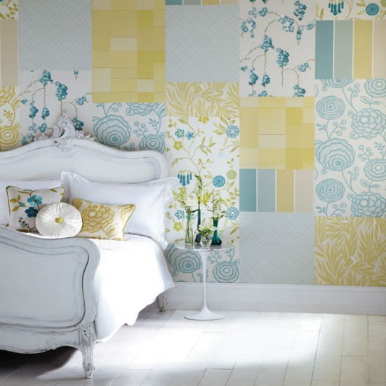 Create a patchwork feature wall bedroom wallpaper ideas for Bedroom ideas wallpaper