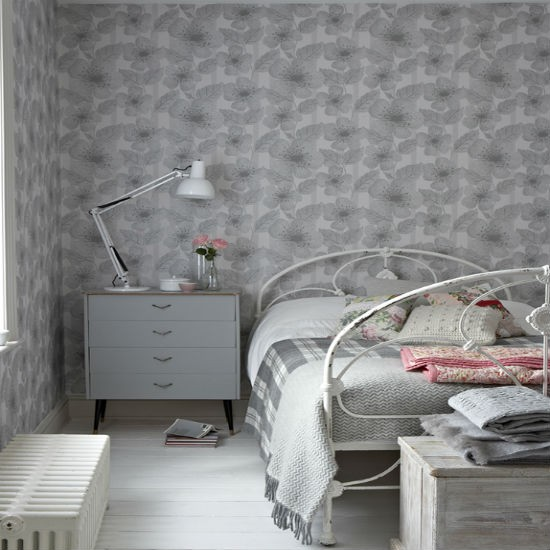 Try an understated colour scheme bedroom wallpaper ideas for Dark grey bedroom wallpaper