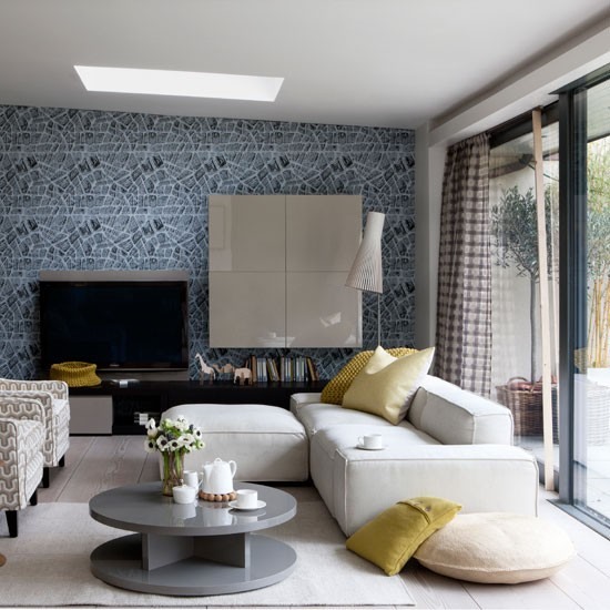 Opt for graphic wallpaper | Family living rooms | housetohome.