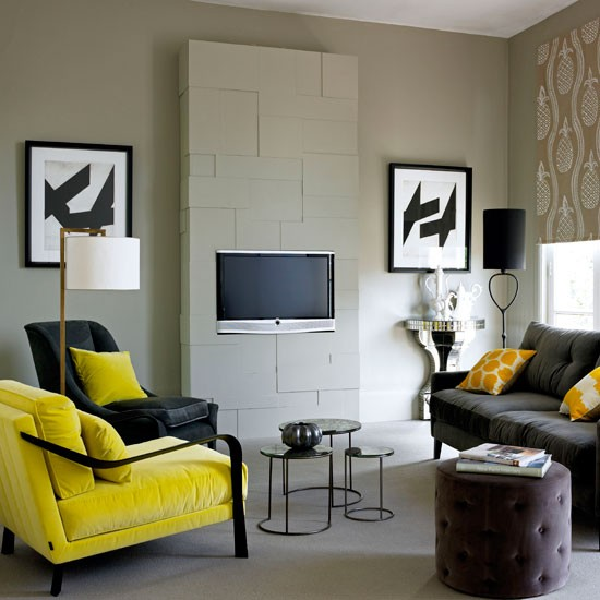 Make a focal point family living room design ideas for Black white and yellow living room