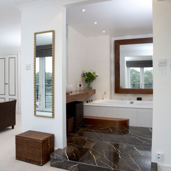 En suite bathroom with open plan design en suite for Open plan bedroom bathroom ideas