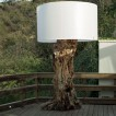 Outdoor space with driftwood lamp