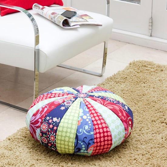 Make a patchwork footstool | Make a colourful patchwork pouffe ...