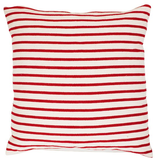 Oceania Thin Stripe Red-white cushion from B&Q | Cushions | PHOTO GALLERY | Style at Home | housetohome
