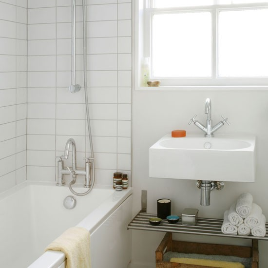 Simple small bathroom bathroom decorating housetohome for Simple small bathroom