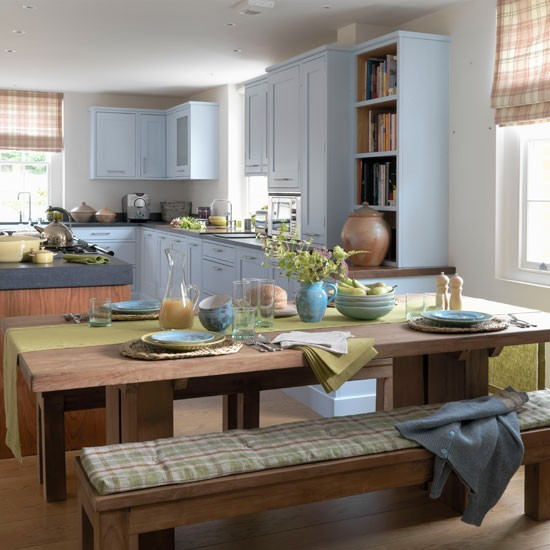 Choose Calming Blue Country Kitchens For Summer