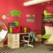 Bold red children&#039;s bedroom