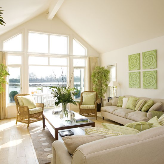 Cream And Green Living Room Summer Living Room Ideas