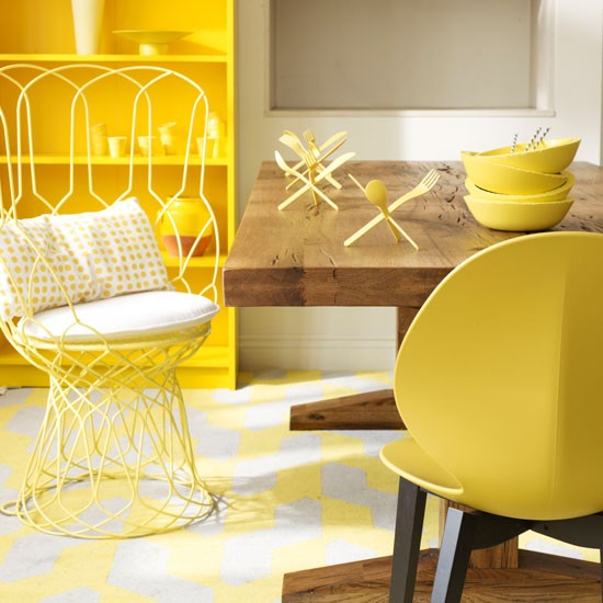 Warm yellow dining room for Yellow dining room ideas