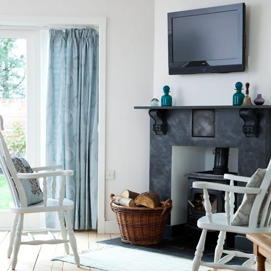 Eggshell Blue Living Room Traditional Living Room