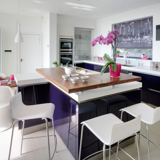 Purple gloss kitchen | Modern kitchen design ideas | Beautiful Kitchens | Housetohome