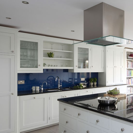 classic blue and white kitchen traditional kitchen ideas On blue kitchen white cabinets