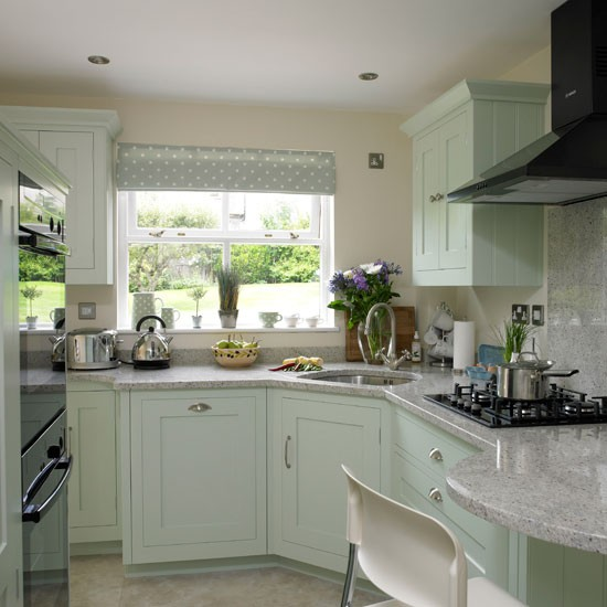 Soft green country kitchen | Country kitchen ideas | housetohome.co.uk