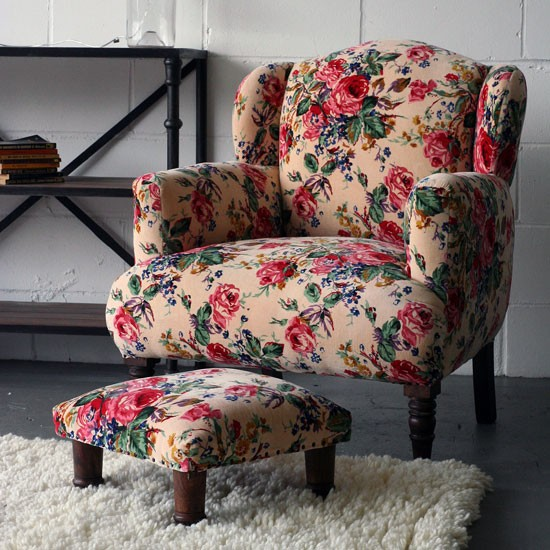 Pretty Floral Velvet Wing Back Chair &amp; Foot Stool new from Rockett St George