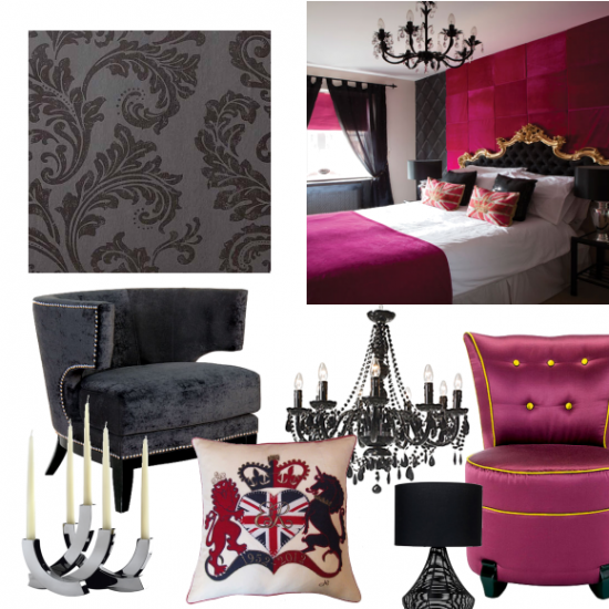Glamorous hot pink and black bedroom