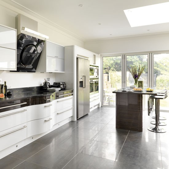 Take a tour around a modern white and dark wood kitchen for Beautiful modern kitchens