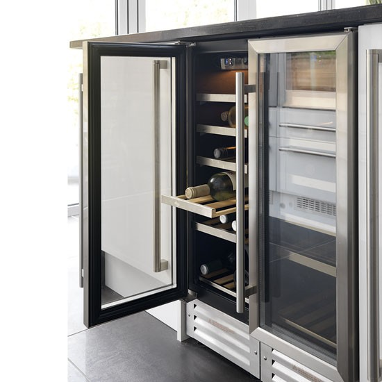Wine cooler take a tour around a modern white and dark - Kitchens with wine coolers ...