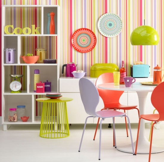 Fluoro bright kitchen diner colourful decorating ideas Bright kitchen