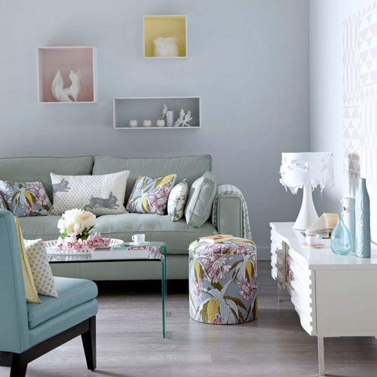Soothing pastel living room | Living room decorating ideas | Ideal Home | Housetohome