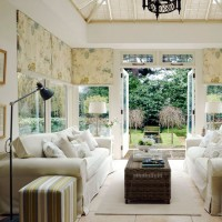 Neutral conservatory living room