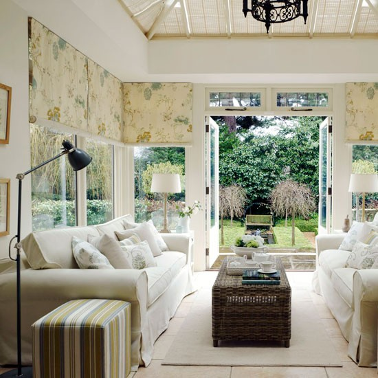 neutral conservatory living room traditional