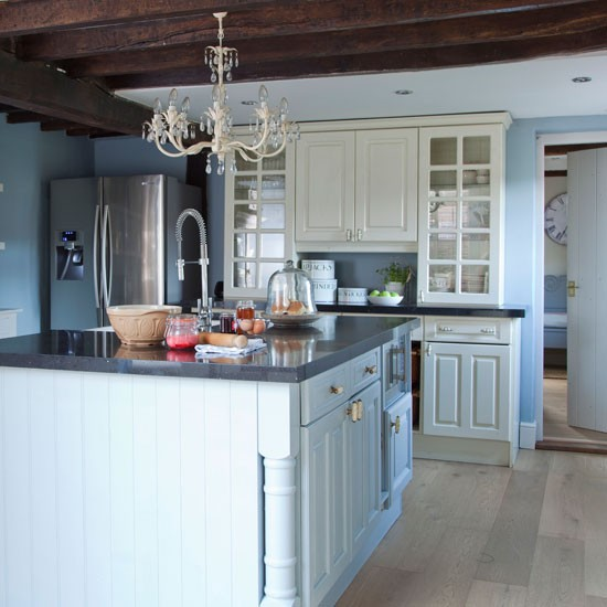 Blue-painted country kitchen | Kitchen planning ideas | Ideal Home | Housetohome