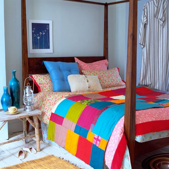 Blue bedroom with colourful bed linen | Summer bedroom decorating ideas | PHOTO GALLERY | Homes & Gardens | Housetohome.co.uk