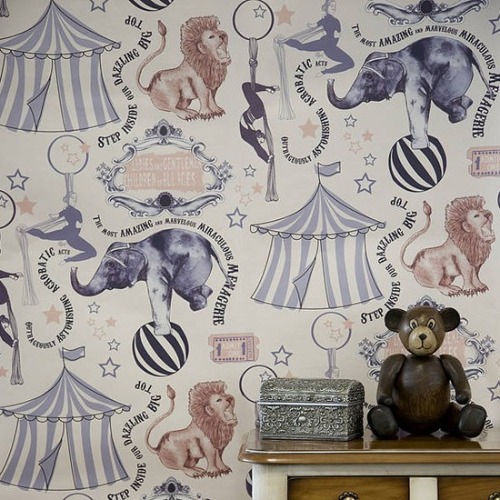 'Roll-Up, Roll-Up' Wallpaper by Kate Usher Studio | Children's wallpaper - 10 of the best | Kid's w allpaper | Wallpaper ideas | PHOTO GALLERY | Housetohome