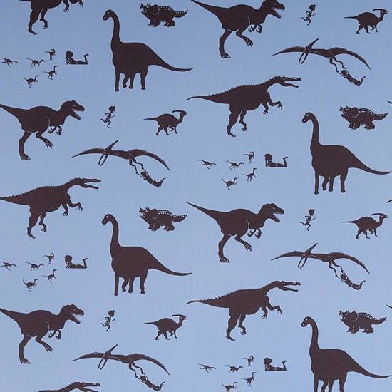 'D'ya think-e-saurus' Blue Wallpaper by PaperBoy | Children's wallpaper | Wallpaper ideas | PHOTO GALLERY | Housetohome