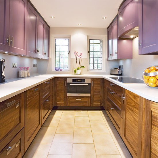 Traditional double sided kitchen small kitchen design for Beautiful small kitchen designs
