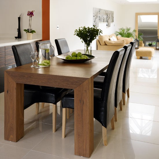 Dining table ebony wood dining table for Dark wood dining table