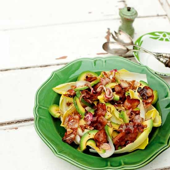 Smooth creamy avocado, crispy bacon and crunchy nuts combine in a simple salad that&amp;rsquo;s full of texture. Perfect for a midweek supper.