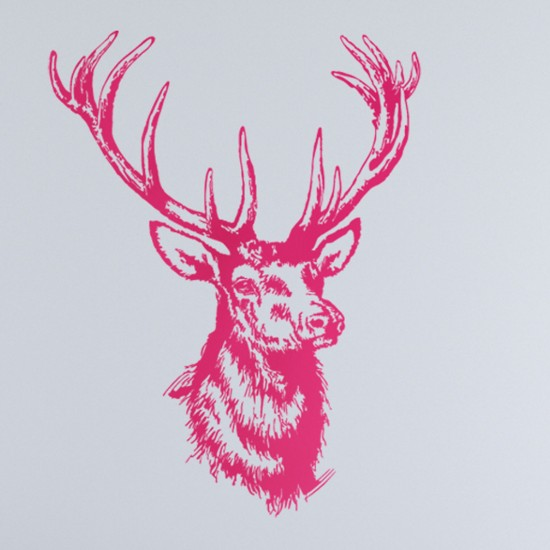 Stag Head Stencil Stag's head wall sticker from