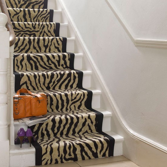 Bold runner staircase staircase design ideas for Zebra print flooring