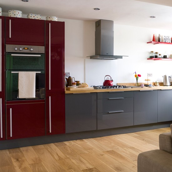 Red and grey modern kitchen  Modern decorating ideas  housetohome co