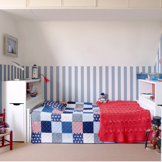 Blue patchwork children's bedroom | Coastal decorating ideas | Country Homes & Interiors | Housetohome