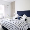 Navy and white bedroom 
