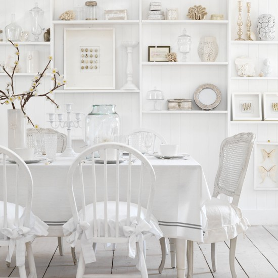 Pure white country dining room country decorating ideas for White dining room ideas