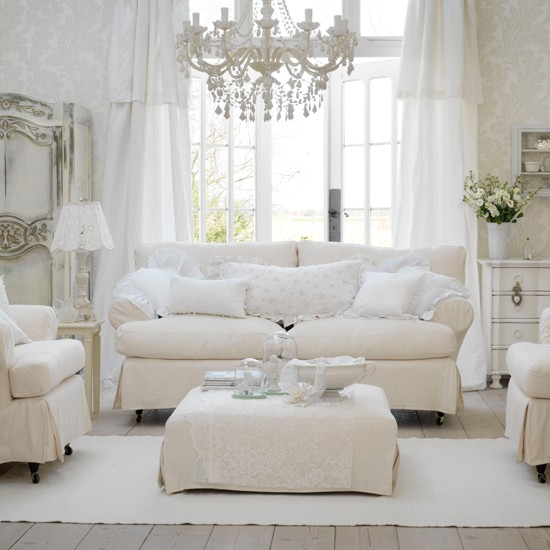 Soft White Colour Scheme Shabby Chic Decorating Ideas