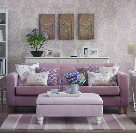 Lilac damask living room country decorating ideas for Mauve living room decor