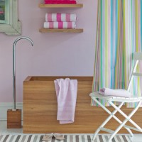 Pastel stripe bathroom