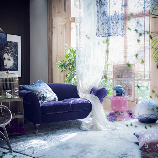 mysterious purple living room
