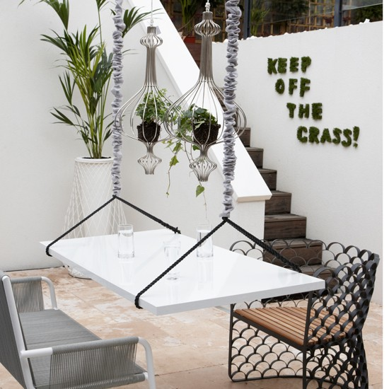 Quirky white patio garden small garden design ideas for Quirky dining room ideas