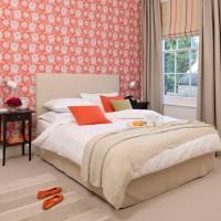 Coral floral bedroom