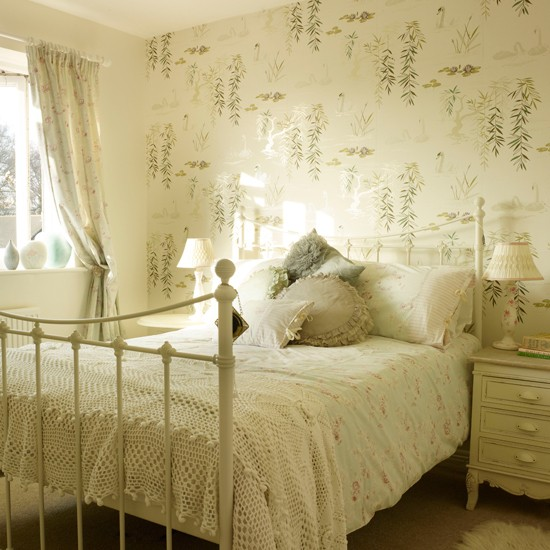 Neutral floral country bedroom contemporary country for Neutral bedroom wallpaper