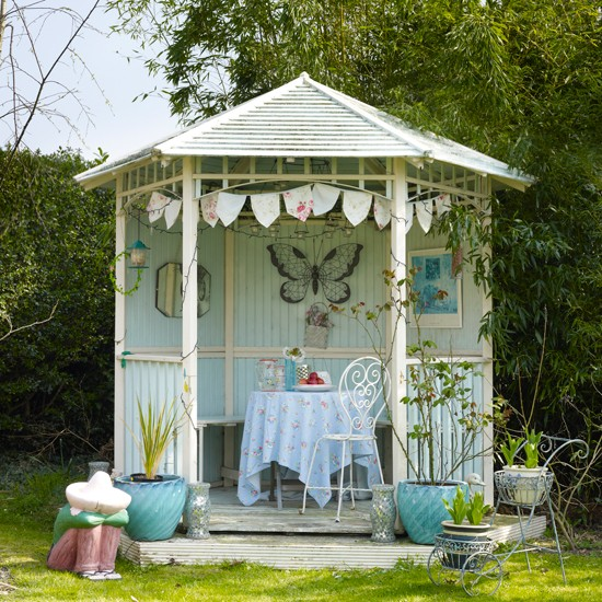 Pale blue garden summerhouse