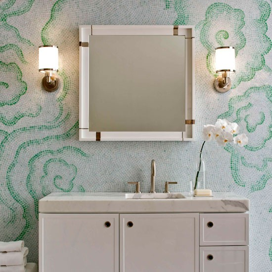 Green and white mosaic tiled bathroom | Bathroom | PHOTO GALLERY | Homes & Gardens | Housetohome.co.uk