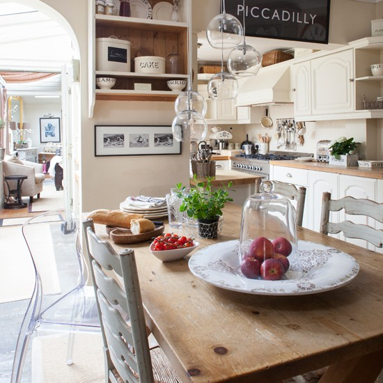 French farmhouse style kitchen diner traditional for Farm style kitchen designs